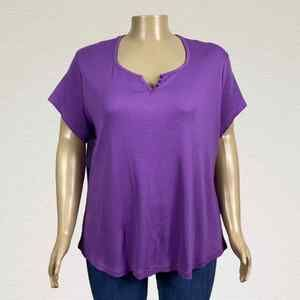 Faded Glory Ribbed Split Scoop Neck Henley Shirt